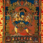 An embroidered thanka displayed in the Tibet Museum