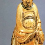 Ming Dynasty ivory carving, human figure, 20 cm high, housed in Shanghai Museum