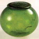 Sui Dynasty covered pot made of green glass.
