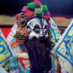 Rod puppet Jiaozan, head hight 17.5cm. Jiao is a valiant general intraditional puppet drama, Jinxian, Hebei.