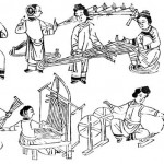 New year picture, Spinning and Weaving, a scene of nine Qing-dynasty women at work-cotton fluffing, spinning, yarn starching or weaving respectively.